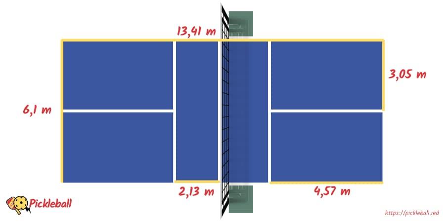 pickleball red medidas dimensiones pista cancha superficie juego